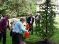 Luterkoka stādīšana. Līvija Upmale un Terēze Bogdānova aplaista koku.